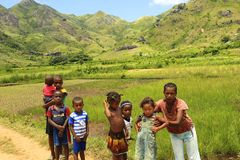 Mum with Children in Africa, Madagascar Royalty Free Stock Photo