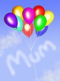 Mum in clouds with balloons Royalty Free Stock Images