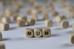 Mum - cube with letters, sign with wooden cubes Stock Images