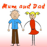 Mum And Dad Shows Offspring Parents And Mummy. Mum And Dad Meaning Mommy Child And Mom Stock Photo