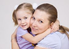 Mum and the daughter. Embrace gently Royalty Free Stock Photo