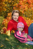 mum with a daughter in autumn park Royalty Free Stock Photography