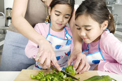 Mum and Daughter Chopping Veggies Royalty Free Stock Photos