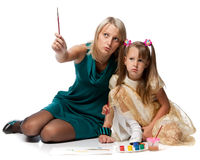 Mum with daughter draw a picture Royalty Free Stock Images