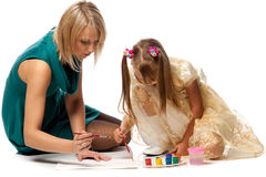 Mum with daughter draw a picture Royalty Free Stock Photos