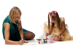 Mum with daughter draw a picture Royalty Free Stock Photography