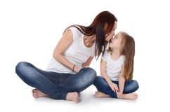 Mum with a daughter on white Royalty Free Stock Photography