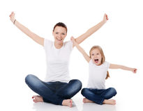 Mum with a daughter isolated on white Royalty Free Stock Image