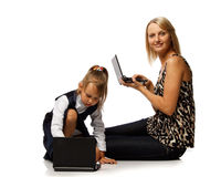 Mum and daughter with notebook Stock Photos