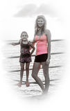 Mum and daughter by railings Stock Photography