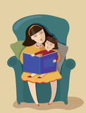 Mum and daughter read the book. Vector illustration Royalty Free Stock Photos