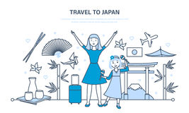 Mum with daughter travel to Japan, acquainted with culture, sights. Royalty Free Stock Photography