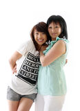 Mum en dochter die pret hebben Stock Afbeeldingen