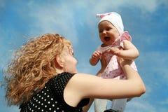 Mum en jong geitje Stock Foto's