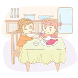 Mum feeds the child. ,Vector, color full, no gradient Royalty Free Stock Images