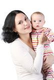 Mum holds on hands of the baby. royalty free stock photo