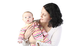 Mum holds on hands of the baby. Stock Photography