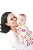 Mum holds on hands of the baby. Royalty Free Stock Photos