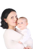 Mum holds on hands of the baby. stock image