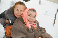 Mum the invalid with the daughter. Stock Image