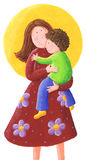Mum and kid. Acrylic illustration of Mum and kid Royalty Free Stock Photo