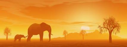 Mum and little elephant in the savannah vector illustration