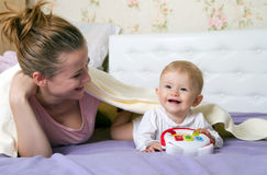 Mum with the little girl, baby Stock Photo