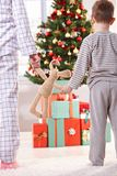 Mum, little son and toy bunny at christmas Stock Photo