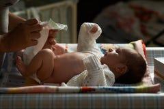 Mum night nappy newborn Stock Photo