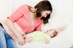 Mum plays with little  baby Stock Photography