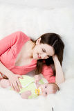 Mum plays with little  baby Royalty Free Stock Images