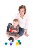 Mum plays with the small son. Royalty Free Stock Image