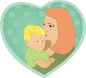 Mum's kiss. The illustration of mum and its child which are against blue heart Stock Image