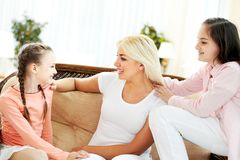 Mum and siblings Royalty Free Stock Images
