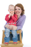 Mum with a small daughter. Mum embraces a small daughter Royalty Free Stock Photography