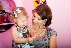Mum with a small daughter Royalty Free Stock Photos