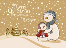 Mum the snowman cares of her child. Stock Image