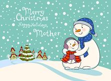 Mum the snowman cares of her child. Stock Photography