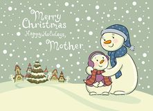 Mum the snowman cares of her child. Royalty Free Stock Photo