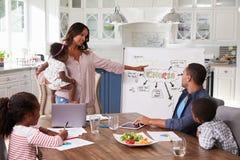 Mum som framlägger inhemskt möte till hennes familj i köket arkivfoto