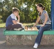 Mum and son chess Stock Photo