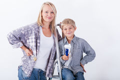 Mum and son. Going to renovate their house stock photos