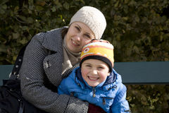 Mum with the son in park Royalty Free Stock Images