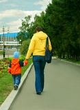 Mum and the son on walk in park Stock Image