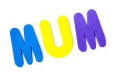 The word MUM. MUM spelt out with coloured letters Stock Photo