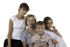 Mum with three children Royalty Free Stock Photo