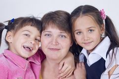 Mum from two daughters Stock Photography