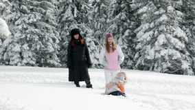 Mum, two girls enjoying on snow in winter. A young and attractive mother with two children while enjoying in the idyllic winter time soroundings stock video