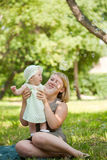 Mum walks with the child Stock Photography