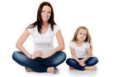 Mum With A Daughter Isolated On White Royalty Free Stock Images